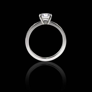 Solitaire émeraude pavage diamant or blanc Judith