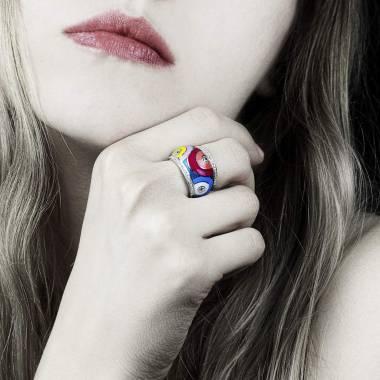 Bague diamant pavage diamant or blanc laque Color Pop