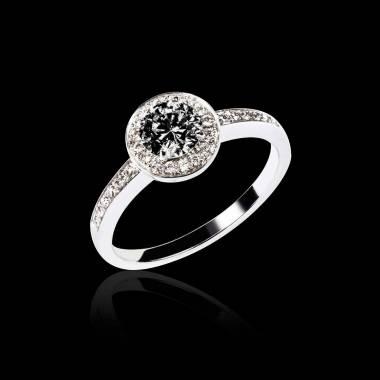 Bague de fiançailles diamant noir pavage diamant or blanc Rekha