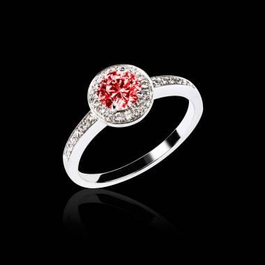 Bague de fiançailles rubis pavage diamant or blanc Rekha
