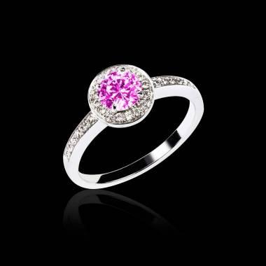 Bague de fiançailles saphir rose pavage diamant or blanc Rekha
