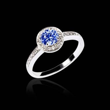 Bague de fiançailles saphir bleu pavage diamant or blanc Rekha
