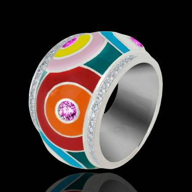 Bague saphir rose pavage diamants or blanc laque Color Pop
