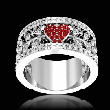 Bague de fiançailles rubis pavage diamant or blanc Flowers of Love