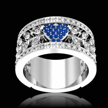Bague de fiançailles saphir bleu pavage diamant or blanc Flowers of Love
