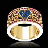 Bague de fiançailles saphir bleu pavage diamant or blanc Flowers of Love