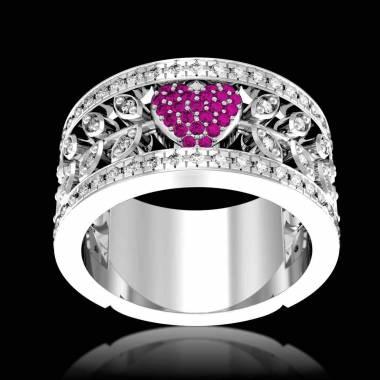 Bague de fiançailles saphir rose pavage diamant or blanc Flowers of Love