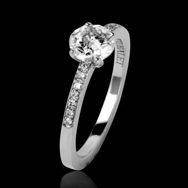 Bague de fiançailles diamant pavage diamant or blanc Judith