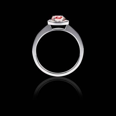 Bague de fiançailles rubis pavage diamant or blanc Rekha Solo