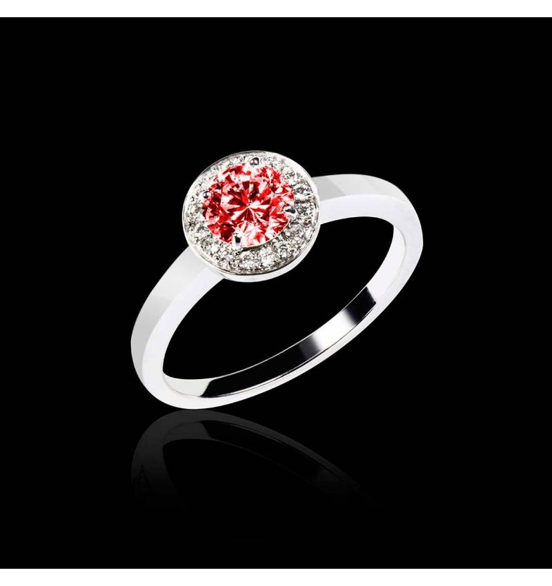 Solitaire rubis pavage diamant or blanc Rekha solo
