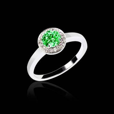 Bague de fiançailles émeraude pavage diamant or blanc Rekha Solo