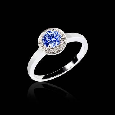 Bague de fiançailles saphir bleu pavage diamant or blanc Rekha Solo
