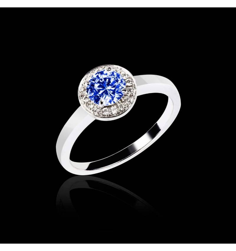 Solitaire saphir bleu pavage diamant or blanc Rekha solo