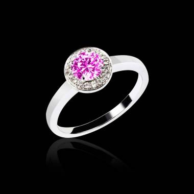 Solitaire saphir rose pavage diamant or blanc Rekha solo