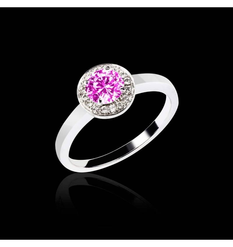 Solitaire saphir rose pavage diamant or blanc Rekha solo