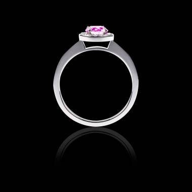 Bague de fiançailles saphir rose pavage diamant or blanc Rekha Solo