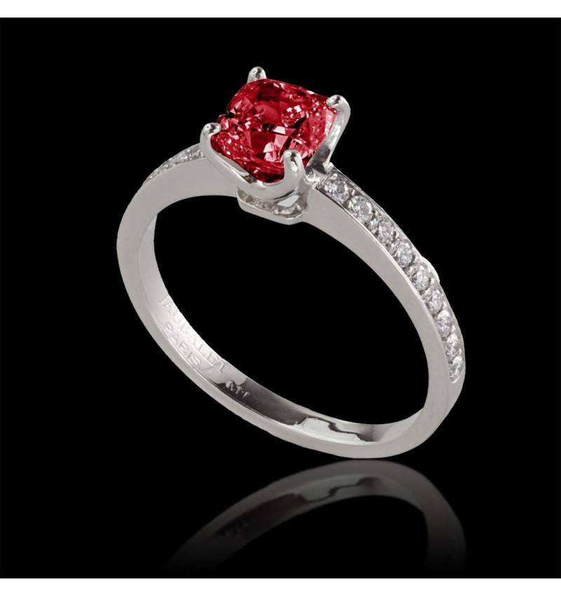 Bague de fiançailles rubis pavage diamant or blanc Sandy
