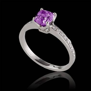 Bague de fiançailles saphir rose pavage diamant or blanc Sandy
