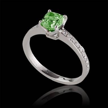 Bague de fiançailles émeraude pavage diamant or blanc Sandy