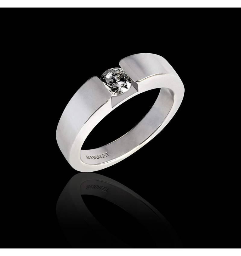 Bague de fiançailles diamant noir rond or blanc Pyramide
