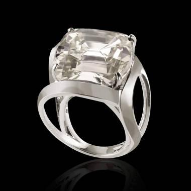 Bague de fiançailles diamant or blanc Coussin Future Solo