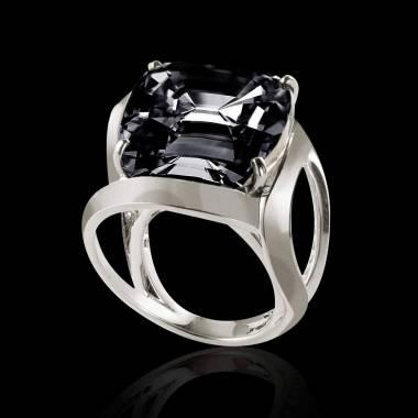 Bague de fiançailles diamant noir or blanc Coussin Future Solo