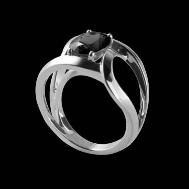 Bague de fiançailles diamant noir rond or blanc Future Solo