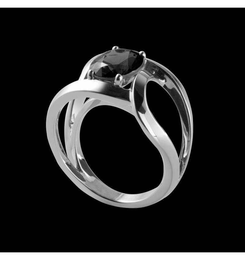 Solitaire diamant noir rond or blanc Future solo