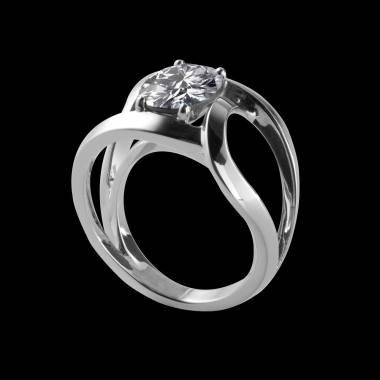 Bague de fiançailles diamant rond or blanc Future Solo