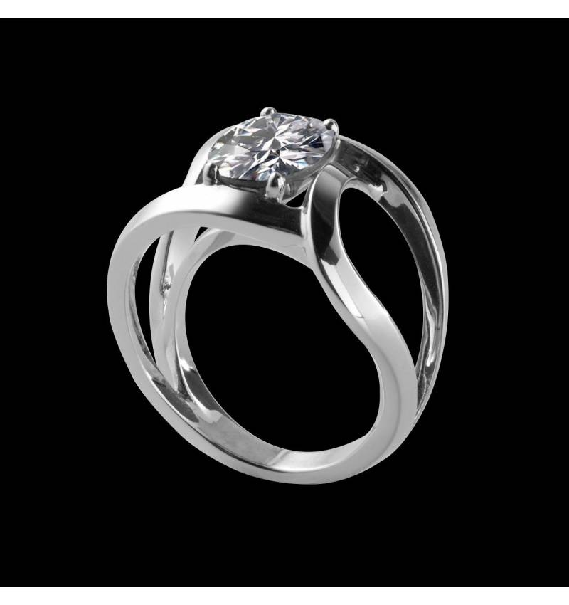 Solitaire diamant rond or blanc Future solo