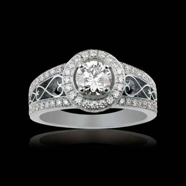 Solitaire diamant pavage diamant or blanc Tsarine