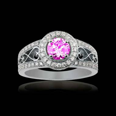Solitaire saphir rose pavage diamant or blanc Tsarine