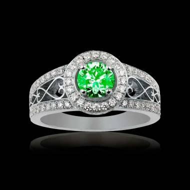 Solitaire émeraude pavage diamant or blanc Tsarine