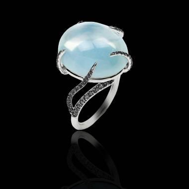 Bague de fiançailles diamant noir 0,6 carat or blanc Pierre de Lune