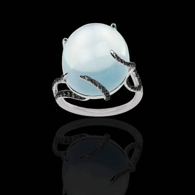 Bague Solitaire diamant noir 0,6 carat or blanc Pierre de Lune