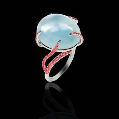 Bague de fiançailles rubis 0,7 carat or blanc Pierre de Lune