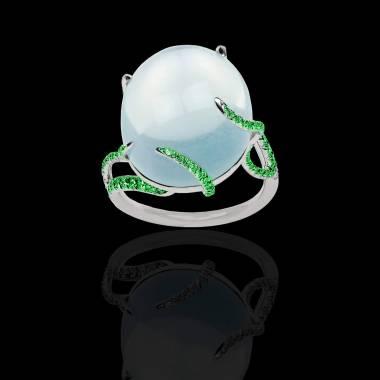 Bague Solitaire émeraude 0,8 carat or blanc Pierre de Lune