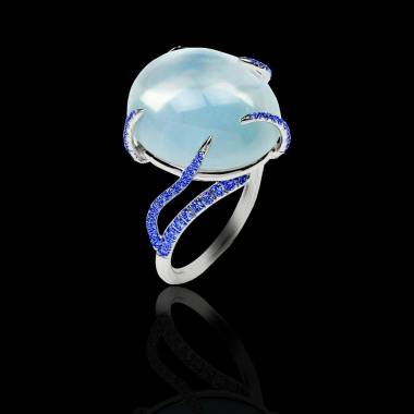 Bague de fiançailles saphir bleu 0,9 carat or blanc Pierre de Lune