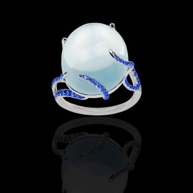Bague Solitaire saphir bleu 0,9 carat or blanc Pierre de Lune