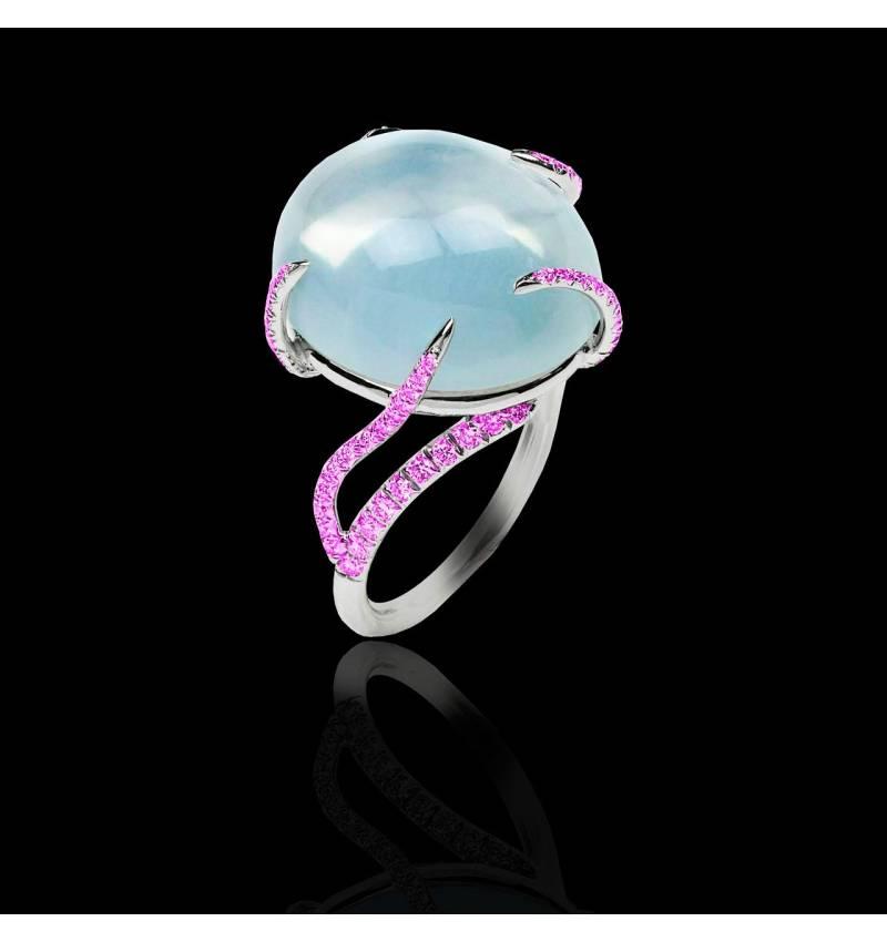 Bague pierre de lune pavage diamant or blanc Pierre de Lune