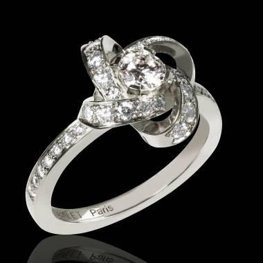 Bague de fiançailles diamant pavage diamant or blanc Chloé