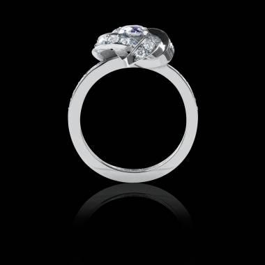 Bague Solitaire diamant pavage diamant or blanc Chloé