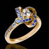 Bague de fiançailles diamant pavage saphir bleu or jaune Chloé