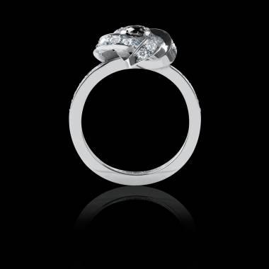 Bague Solitaire diamant noir pavage diamant or blanc Chloé