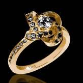 Bague de fiançailles diamant noir pavage diamant noir or jaune Chloé