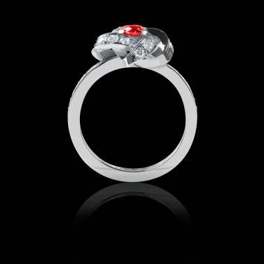 Bague Solitaire rubis pavage diamant or blanc Chloé