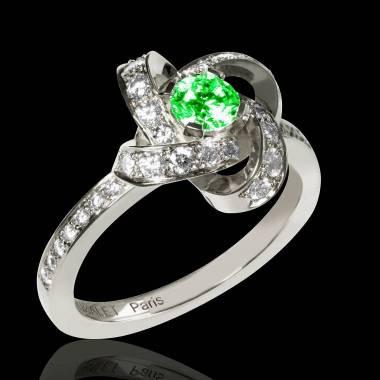 Bague de fiançailles émeraude pavage diamant or blanc Chloé