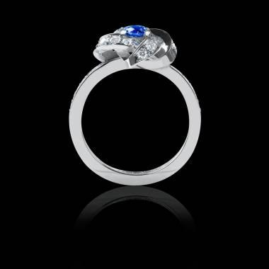 Bague Solitaire saphir bleu pavage diamant or blanc Chloé
