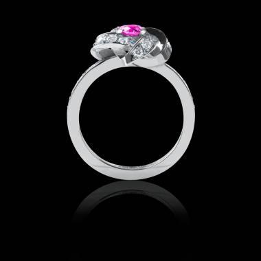Bague Solitaire saphir rose pavage diamant or blanc Chloé