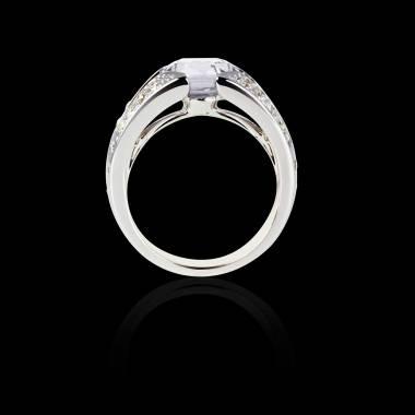 Solitaire diamant pavage diamant or blanc Isabelle